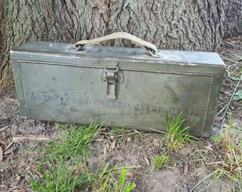 Old/Vintage/Military Metal Ammo Box with cloth handle