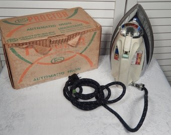 Vintage Electric Iron- Proctor Silex Automatic Speed Steam and Dry Iron with Original Box 1960s