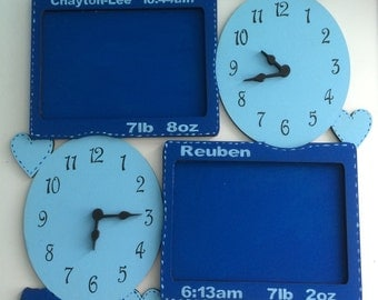 Personalised wooden clocks for names, date, time weight of children