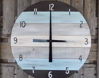 LARGE Round Pallet Clock, Black and Blue Wall Clock, Grunge Clock, Industrial Wall Clock, Primitive Wood Wall Clock, Large Clock