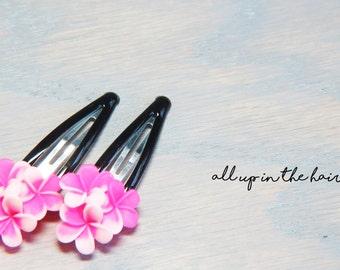 Pink Barrettes - Pink Plumeria Barrettes - Flower Barrettes