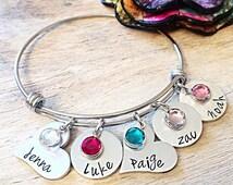 Mothers Day Bracelet, Mothers Day Gift, Mothers Day Jewelry, Personalized Charm Bracelet, Kids Name Bracelet, Birthstone Bracelet, Mom Gift