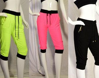 Women's WorkOut Capri Pants, Dance, Hip Hop, Athletic,neon colors, Neon  colors, baggie, leggings, yoga, Harem dance pants, stretchy