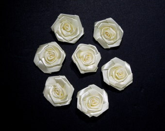 10 pieces Satin Ribbon Roses, 2 colours available (Cream or Dusty Pink), Applique Flowers