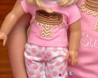 Pancake Doll pajamas, Spring Pjamas, applique embroidery monogram custom name pjs