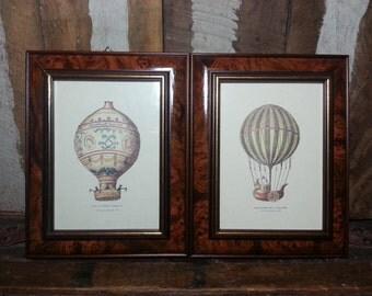 Vintage Set Framed Hot Air Balloon Steampunk Wall Art Italy Prints Pictures Ascension De Testu-Bressy & Ballon Von Montgolfier No.794 No.789