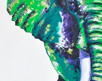 Elephant Painting | Elephant Art by Aidan Weichard | Original Painting on Canvas | Abstract Animal Art |  'Trampeled Underfoot' 122 x 55cm