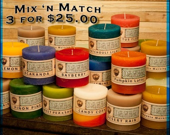 "3x3"" Pillar Candles, Double Fragrance, Mix N Match"