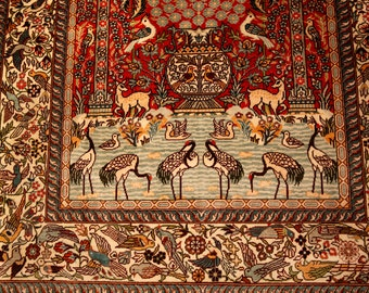Persian Qum Isfahan Silk on Silk Pictorial rug with wall frame Rare