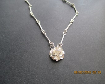 Rose Necklace ..Link..Sterling Silver..Nice Look..New..Taxco..