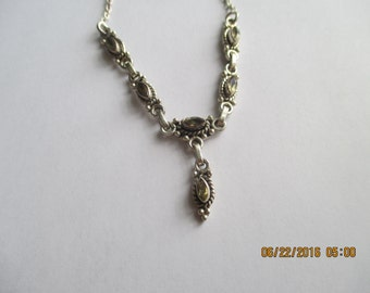 Citrine Necklace...6 stones..Sterling Silver..Nice Look..New..