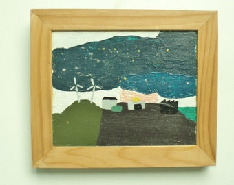 Minimalistic industrial landscape. Acryl painting, wooden frame, +/-  16 x 20 cm.