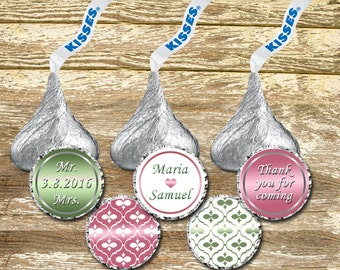 Hershey Kisses Labels - Wine and Green Wedding Kisses, Pink and Green Wedding, Hershey Kisses Stickers, Wedding Stickers, Wedding Kisses