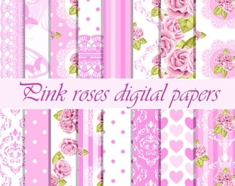 Pink rose digital paper, Rose digital paper, Floral papers, Scrapbook paper, Flower digital paper, Pink digital paper,Rose background