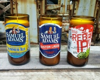Sam Adams Beer Candle Three Pack - Perfect Boston Decor Created From Recycled Bottles