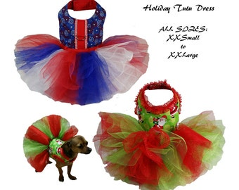 Dog Tutu, Dog Dress Pattern, Dog Clothes Sewing Pattern pdf Tutorial -Holiday Tutu Dress- ALL SIZES - XXSmall to XXLarge