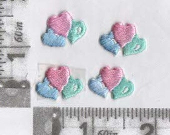 Tiny Pink blue and green heart trio iron on patches (4)