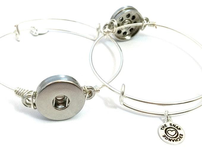 Featured listing image: Adjustable bangle bracelet, interchangeable bangle bracelet, snap jewelry, bangle bracelet, button bracelet, button snap, button jewelry