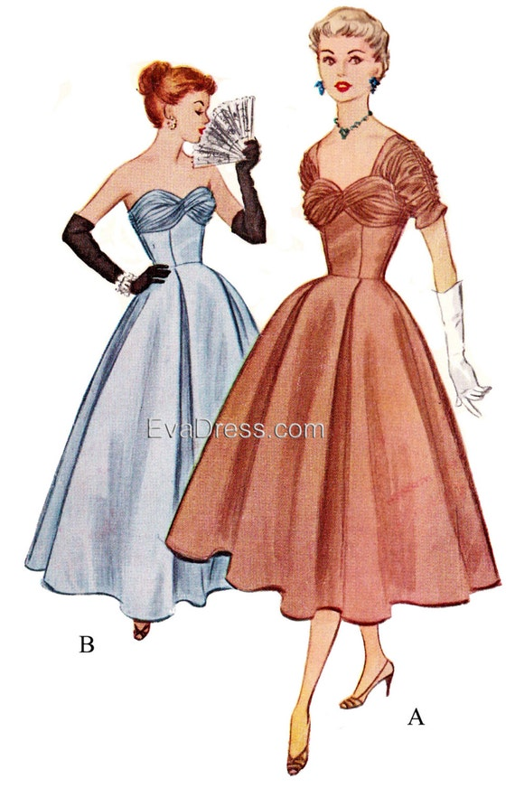 1950s Sewing Patterns | Swing and Wiggle Dresses, Skirts 1953 Evening Dress Newest Multi-size EvaDress Pattern!1953 Evening Dress Newest Multi-size EvaDress Pattern! $25.00 AT vintagedancer.com