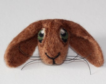 Needle Felted Lopped Rabbit Brooch