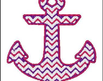 Chevron anchor embroidery design 4x4