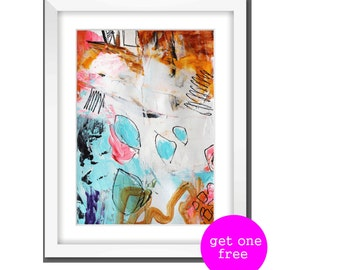Art Print from Jolina anthony abstract painting with rosa and white. Modern painting jolina anthony