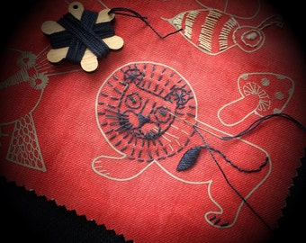 APPLIQUE PATCH Kit Fun red denim animal embroidery kit for jeans. Fun for big and little kids.