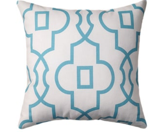 Light Blue Pillow Cover - Coastal Blue Throw Pillow - Bordeaux Coastal Lattice Pillow Cover - Geometric Zippered Pillow - Blue White Pillow