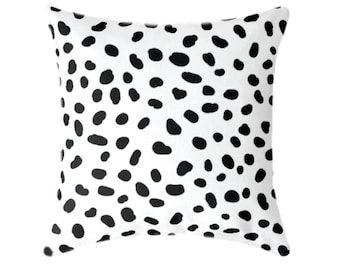 "Spotted Black and White Decorative, Pillow Cover 20"", Accent Throw Cushion, Polka Dots Spots Animal Print, Togo Black and White Dalmatian"