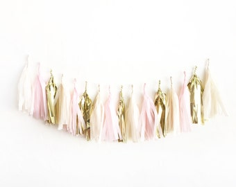 Blush Gold Tassel Garland - tissue paper fringe tassel banner | cream, blush, gold