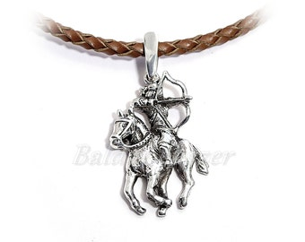 Silver Hungarian Archery pendant, antiqued
