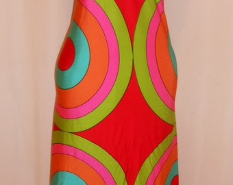 Vtg Gottex 60s 70s Halter Mod Maxi Psychedelic Body Con Beachwear Stretch Long Dress
