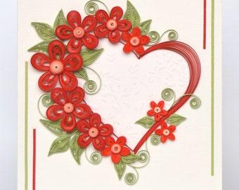 Exquisite Valentine Quilling Card - Valentine's Day quilling Card - Big heart quilling Card - Love quilling card