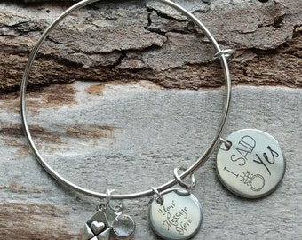 I Said Yes Engagement Wire Adjustable Bangle Bracelet