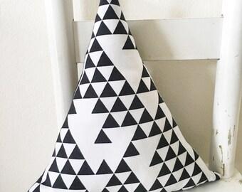 Monochrome Geometric Triangle Decorative Pillow Nursery Boys Room Decor