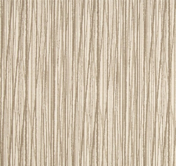 Fabric Shower Curtain Edisto Stripe Linen Tan Beige By HomeandHome