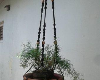 "3 arme Black polycord  Macrame hanging planter / 52""  macrame plant or pot holder / indoor /outdoor/birdfeeder"