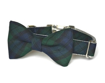 Navy And Green Plaid Dog Bow Tie Collar, Plaid Bow Tie Collar, Bow Tie For Dog, Tartan Bow Tie Collar, Plaid Bow Tie, Metal Hardware, Bowtie