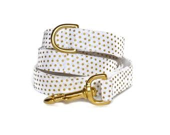 White And Gold Polka Dot Dog Leash, Gold Hardware, Gold Metallic Leash, Wedding Dog Leash, Polka Dot Dog Leash, Black Gold Dog Leash,