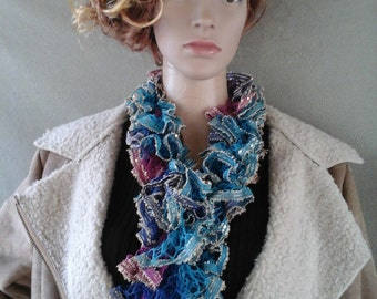 Hand-Knitted Teal/Pink/Blue Boho Ruffled Scarf