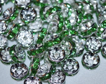 Green Turma Swarovski Crystal 8mm Rondelle Beads