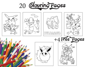 24 Pages Pokemon Children Colouring Pages Assorted Colouring Book of Pokemon Party Activity, Drawing Activity