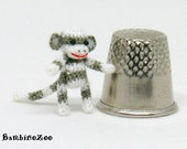 Miniature amigurumi sock monkey - grey and white. Comes with FREE collector's display box.