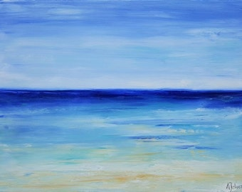 Ocean art Abstract beach painting Beach painting Beach art Ocean abstract painting Seascape painting Oil painting by Alina Jelvez 18x24""