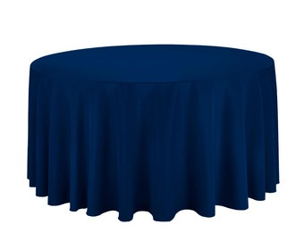132 Inch Round Polyester Navy Blue Tablecloth   Wedding Tablecloth
