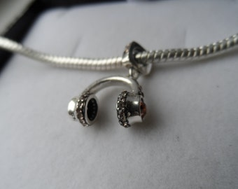 925 Sterling Silver Headphones Charm/Bead - Compatible with Pandora & Chamillia