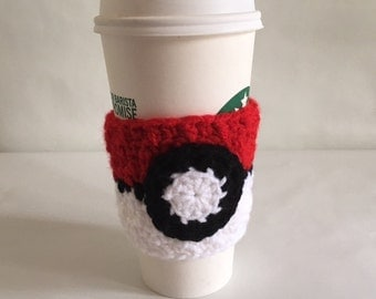 Pokemon Cup Cozy Pokeball Crochet Starbucks Coffee Cup Cozy Crochet Cozy Made to Order
