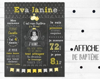 Custom poster digital bapteme_fichier, remember baptism, Blackboard, chalkboard