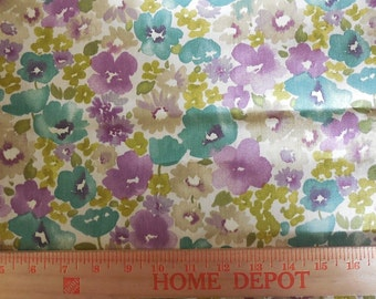 Destash- Purple and Teal Floral Home Decor Fabric Remnant