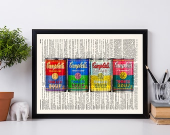 Campbell Soup Wall Art, Kitchen Decor, Dictionary Print, Kitchen Art, Kitchen Print, Wall Art Print, Book Page Print, Home Decor, 053